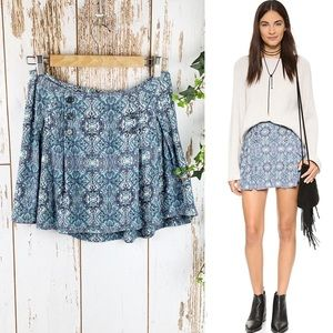 Free People Lovers Lane Mini Skirt Blue Like New 6